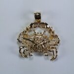 Blue Crab Pendant 14kt Yellow Gold 1 -1/8 inch