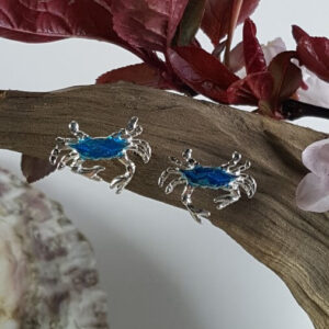Sterling silver Crab earrings with Blue Enamelling