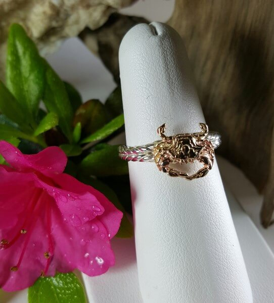 14kt Gold Crab on Sterling silver band