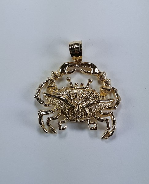 a35f468ca1f Blue Crab Pendant 14kt Yellow Gold 1 -1 8 inch - Chesapeake Jewelers