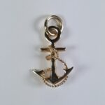 Fouled Anchor Pendant w Circle Bail 14kt Yellow Gold 1 inch
