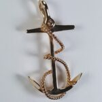 Fouled Anchor Pendant 14kt Yellow Gold 2 inch 03
