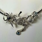 Chesapeake Blue Crab Slide, Sterling Silver with Blue Zircon and Topaz gemstones, Large 4 inches wide fits up to a 10mm Slide/Omega necklace
